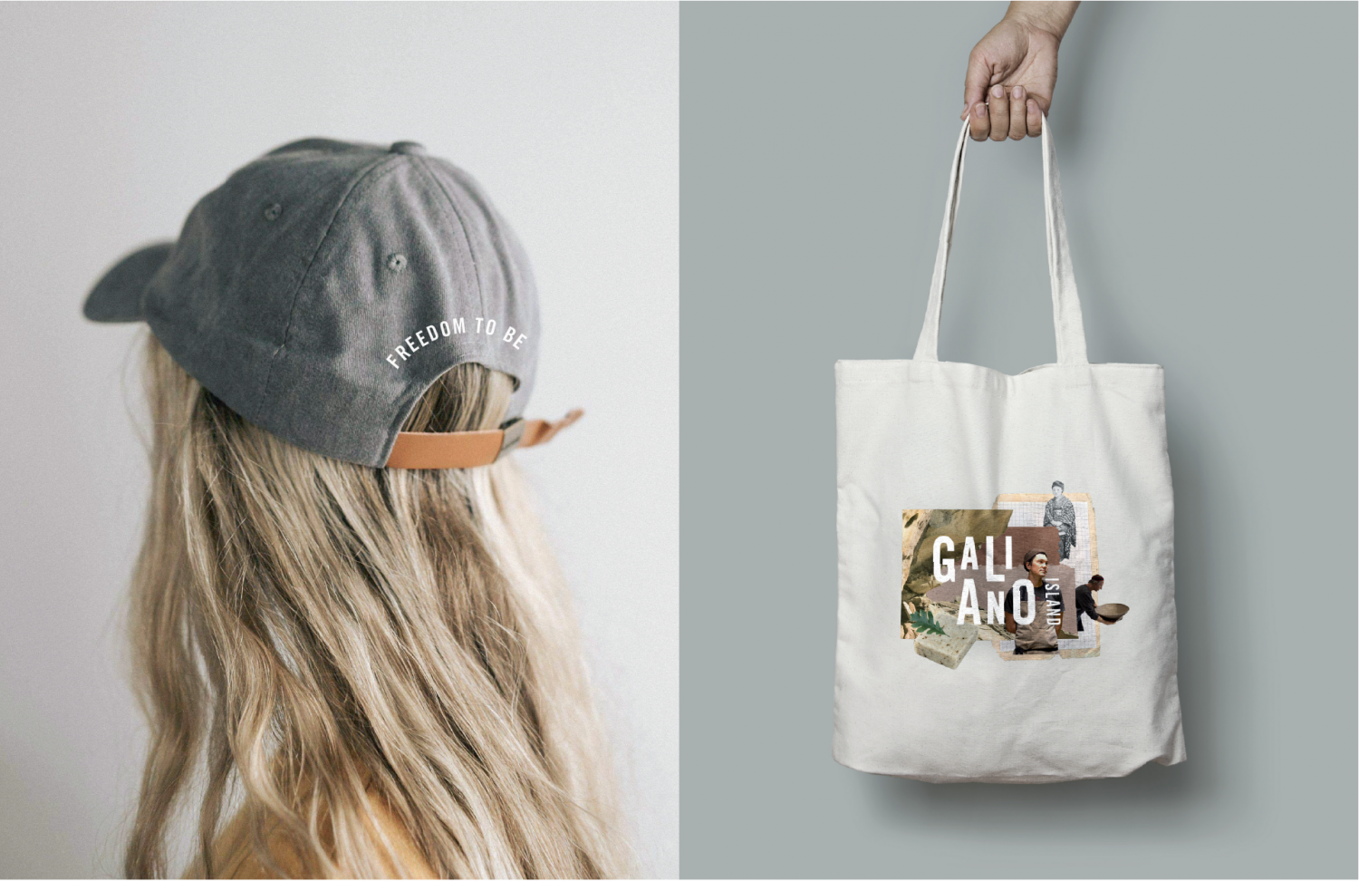 """Hat mockup with """"Freedom to be"""" and bag mockup with Galiano Island Collage"""