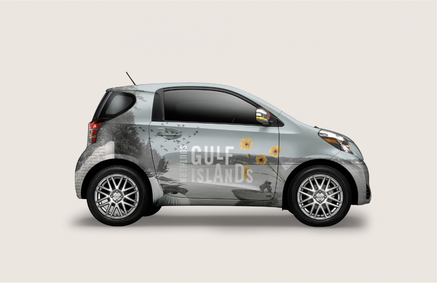 Car wrap mockup with Southern Gulf Islands Collage