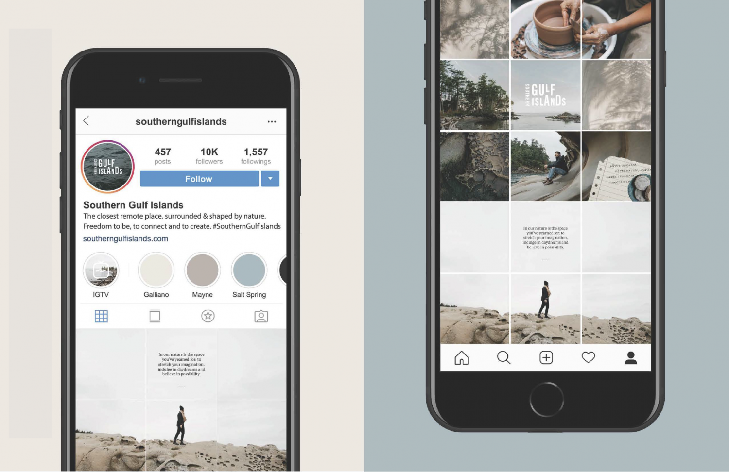 Southern Gulf Islands Instagram feed on iPhone mockup