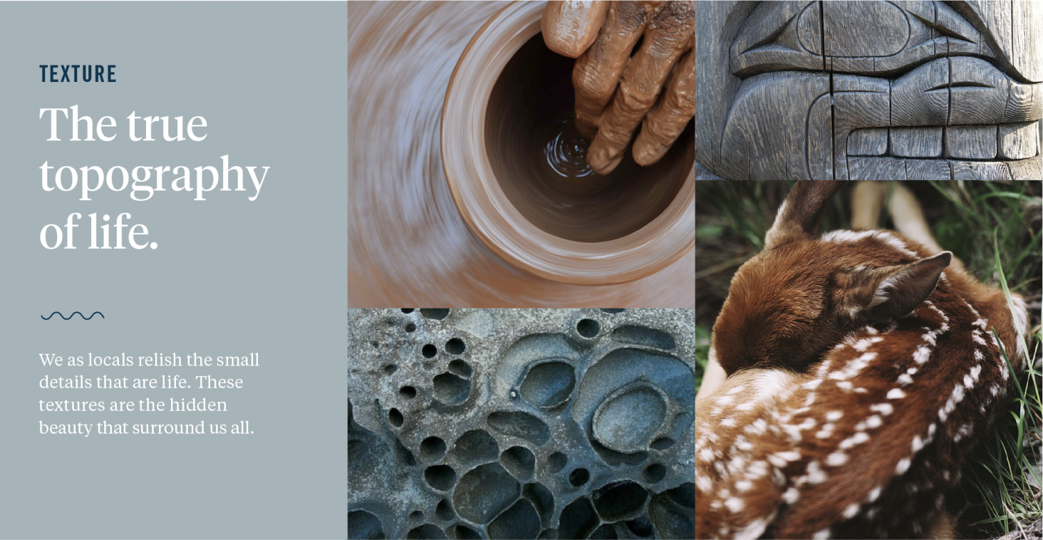 """Collage of textures (pottery, nature, wood carvings, fawn) - """"The true topography of life: We as locals relish the small details that are life. These textures are the hidden beauty that surround us all"""""""